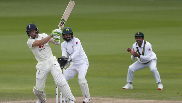 England's Jos Buttler, plays a shot during the fourth day of the first Test against Pakistan. AP