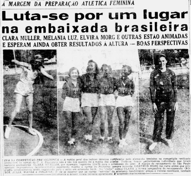 Diário da noite de 13 de abril mostra a preparação olímpica da equipe feminina de atletismo para os Jogos de Londres 1948 - Diário da Noite / Arquivo da Biblioteca Nacional
