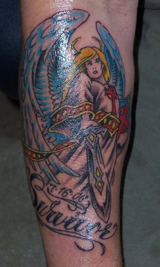 The women tend to go for a guardian angel tattoo that is, well,