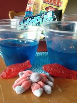 Before Jell-o sets, add gummy fish, sharks or ocean animals.