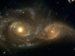 Galaxies-nearly-colliding-Two evil eyes