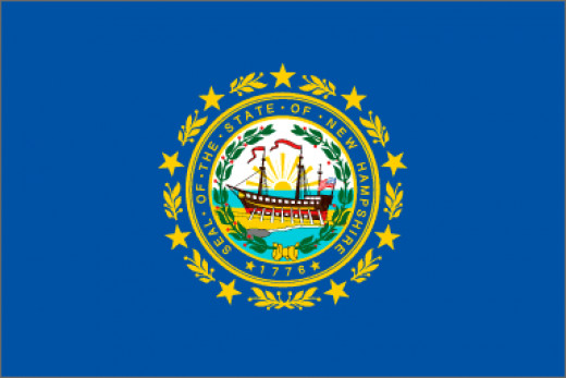 The state flag shall be of the following color and design: The body or field shall be blue and shall bear upon its center in suitable proportion and colors a representation of the state seal. The seal shall be surrounded by a wreath of laurel leaves