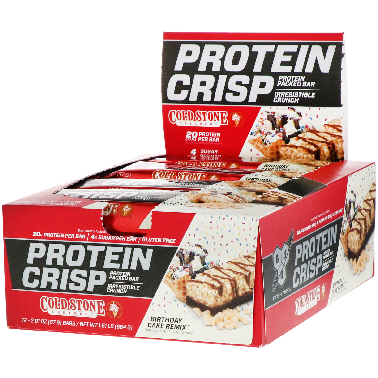 Bsn Protein Crisp Birthday Cake Remix 12 Bars 2 01 Oz 57 G Each Iherb