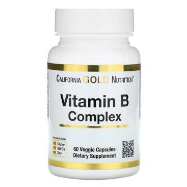 California Gold Nutrition, ビタミンB複合体、必須ビタミンB複合体、ベジカプセル60粒