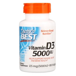 Doctor's Best, ビタミンD3、125 mcg (5000 IU)、ソフトジェル180個
