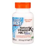 Doctor's Best, MK-7, contenant de la vitamine K2 naturelle MenaQ7, 100 mcg, 60 gélules végétales