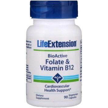 Life Extension, BioActive、 葉酸 & ビタミンB12、 90ベジタリアンカプセル