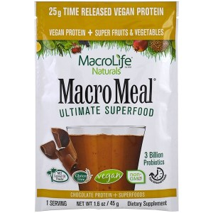 Macrolife Naturals, Macromeal Vegan, Chocolate, 1.6 oz (45g), Single Packet