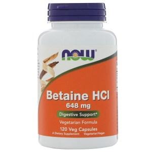 Now Foods, ベタインHCL、648 mg、植物性カプセル 120粒
