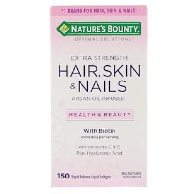 Nature's Bounty, Optimal Solutions، للشعر، البشرة والأظافر، قوة مضاعفة، 150 كبسولة هلامية سائلة سريعة الامتصاص