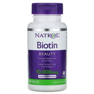 Natrol, ビオチン、成分増量タイプ、10,000mcg、タブレット100粒