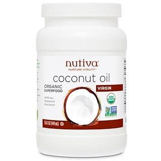 Nutiva, زيت جوز هند عضوي، قطفة أولى، 15 أونصة سائلة (444 مللي)
