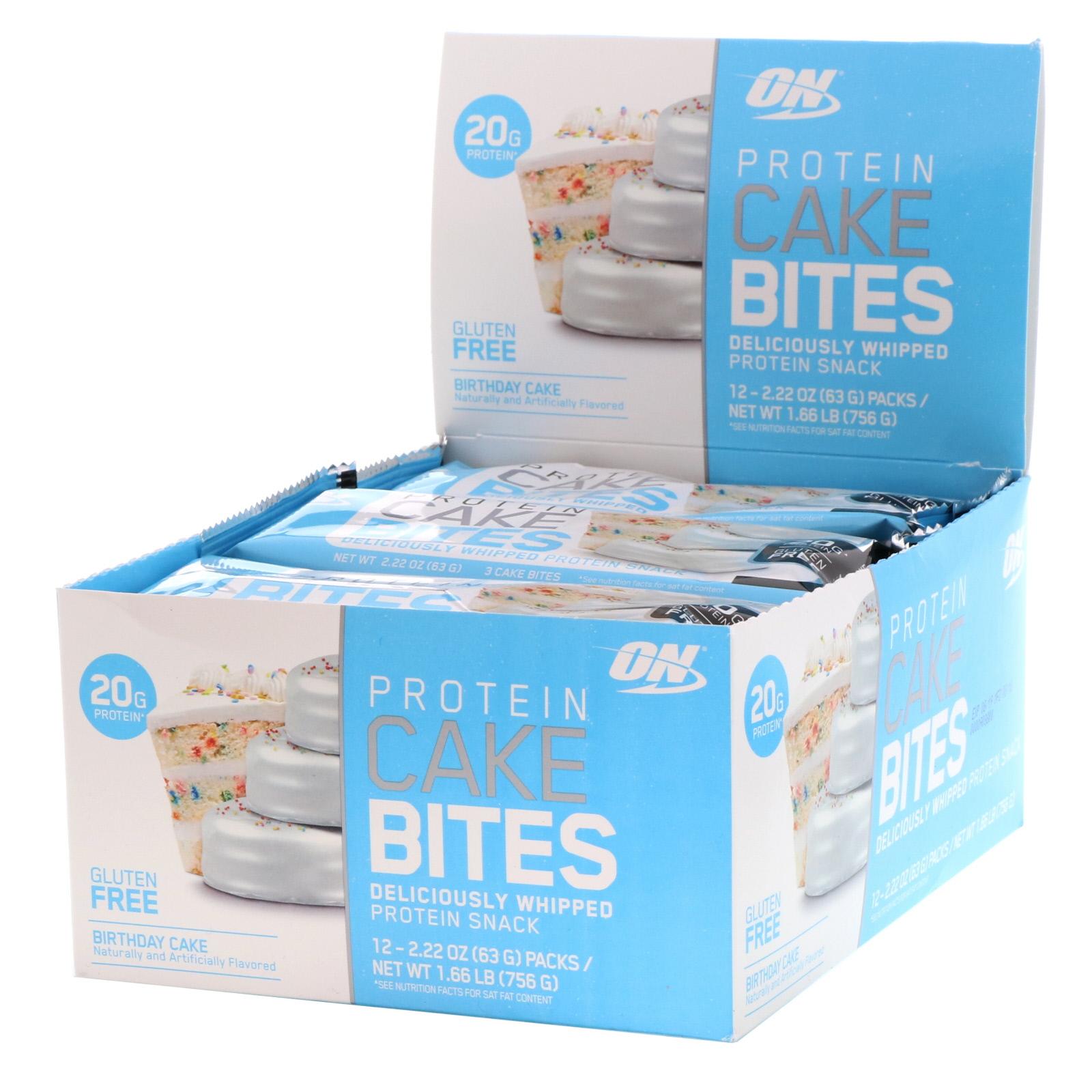 Optimum Nutrition Protein Cake Bites Birthday Cake 12 Bars 2 22 Oz 63 G Each Iherb
