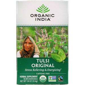 Organic India, شاي تولسي، الأصلي، خالٍ من الكافيين، 18 كيس نقع، 1.14 أونصة (32.4 جم)
