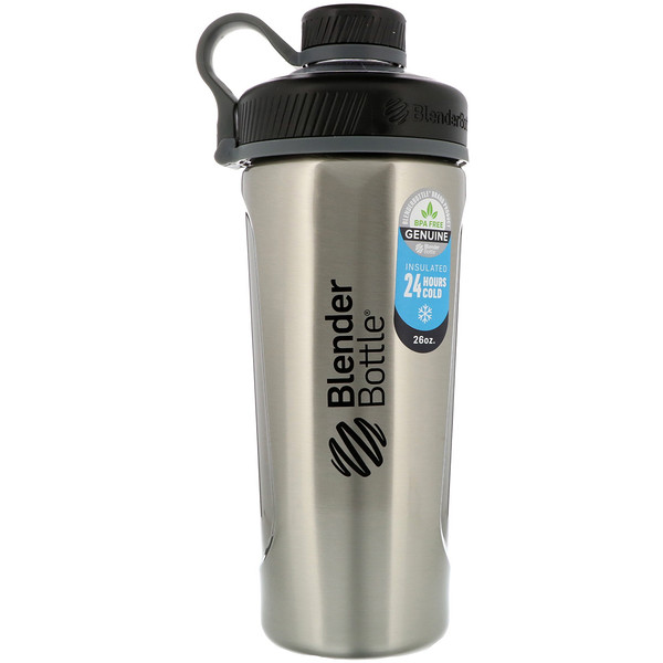 Blender Bottle, Blender Bottle Radian, Insulated Stainless Steel, Natural/Black , 26 oz