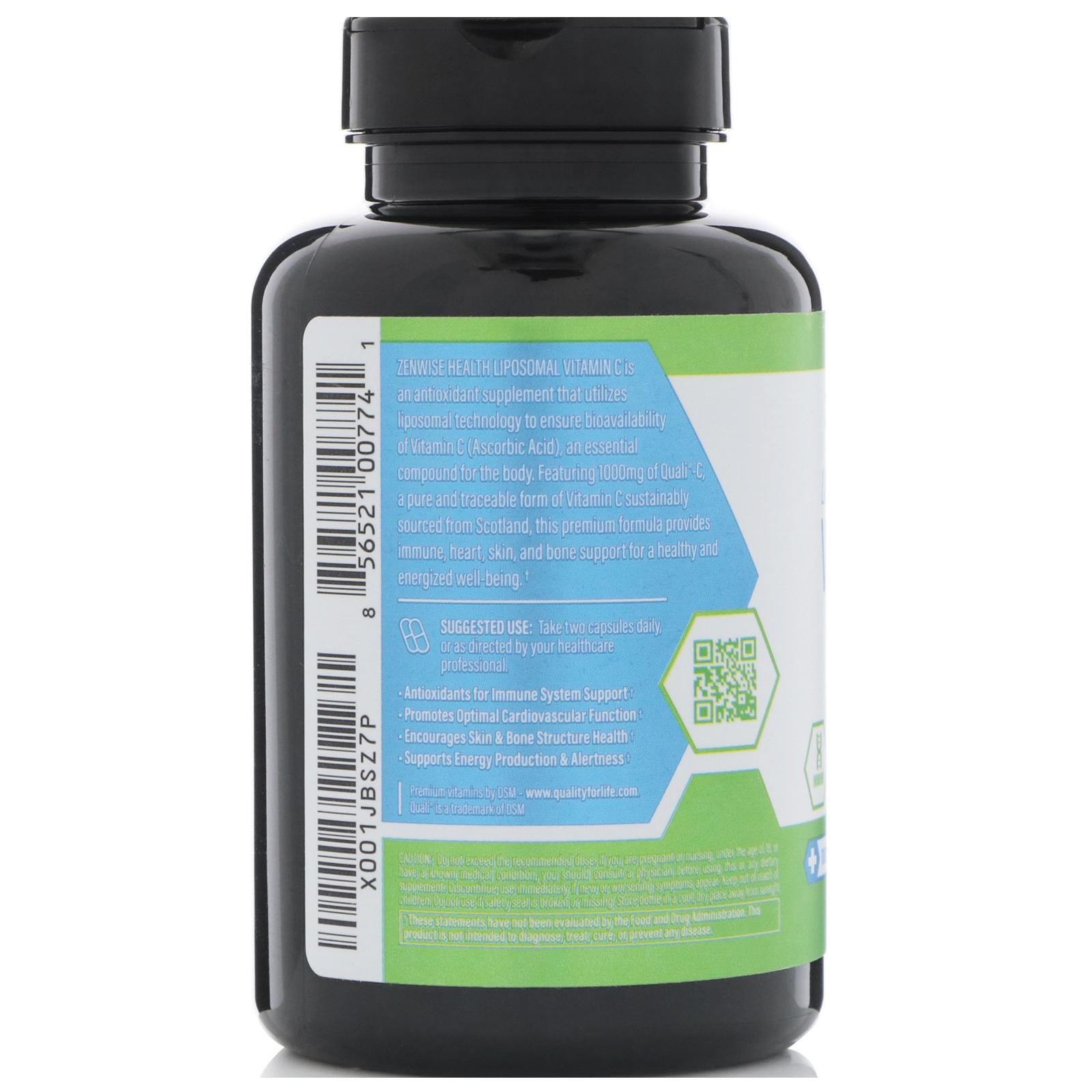 Zenwise Health Liposomal Vitamin C With Quali C 180 Vegetarian Capsules