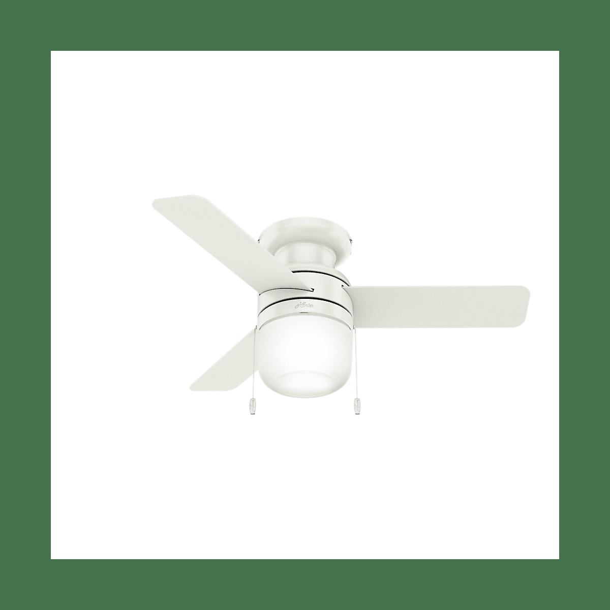 Hunter 59464 Fresh White Acumen 42 3 Blade Hugger Indoor Ceiling Fan With Blades And Led Light Kit Faucet Com