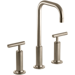 Kohler K 14408 4 Bv Brushed Bronze Purist Widespread Bathroom Faucet With Ultra Glide Valve Technology Free Metal Pop Up Drain Assembly With Purchase Faucet Com