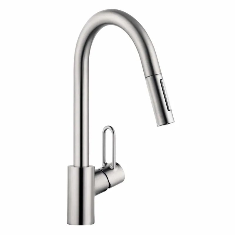 hansgrohe 04701805 steel optik talis loop 1 75 gpm pull down kitchen faucet higharc spout with magnetic docking toggle spray diverter limited