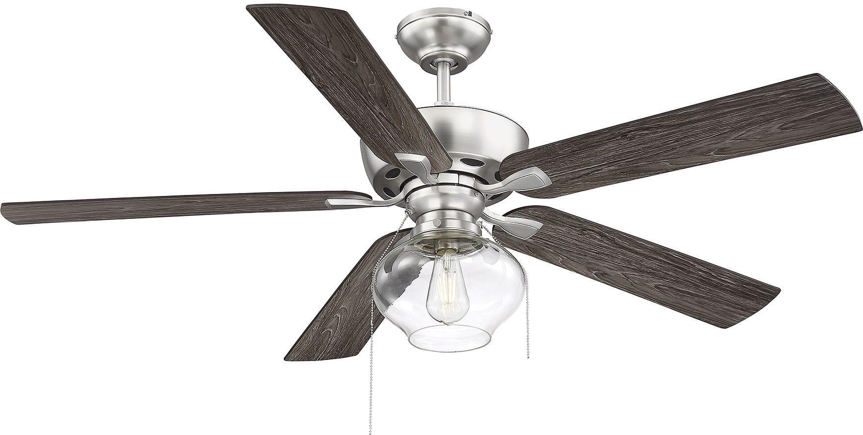 Bellevue Shm2009bn Brushed Nickel 52 5 Blade Dual Mounting Ceiling Fan Lightingshowplace Com