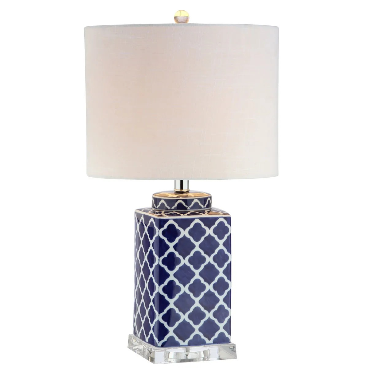 Jonathan Y Lighting Jyl3011a Blue White Moroccan Style Led Table Lamp With Quatrefoil Design Lightingdirect Com