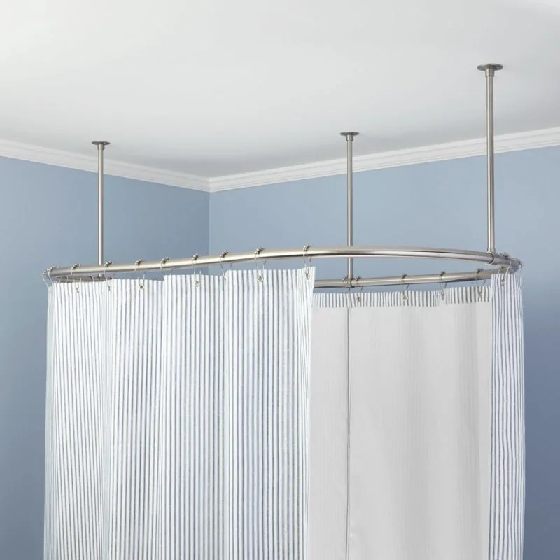 signature hardware signature hardware 939634 54 30 54 x 30 oval solid brass ceiling mounted shower curtain rod brushed nickel shower accessories