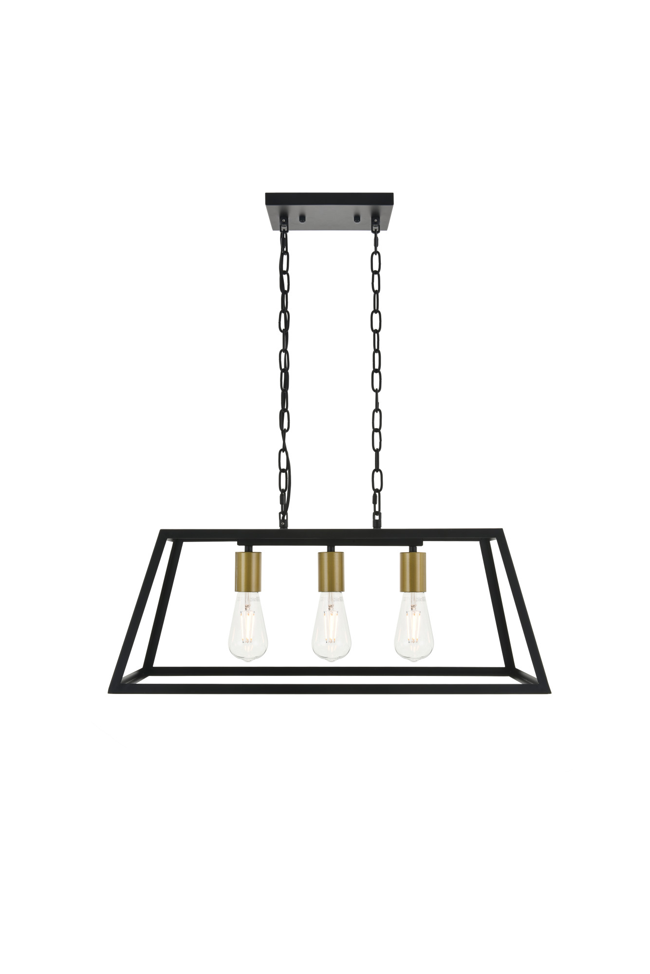 Elegant Lighting Ld D25 Brass Black Resolute 3 Light 25