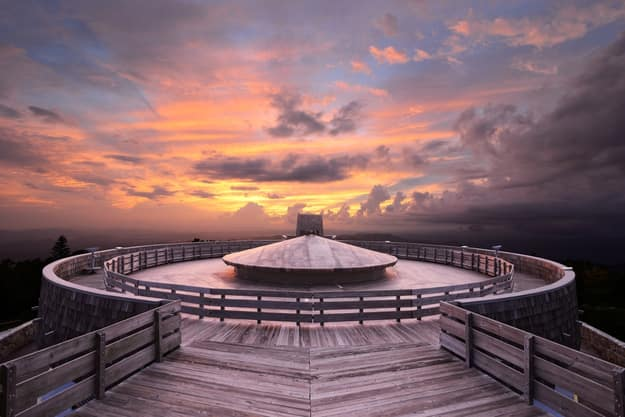 Mountaintop observatory at sunset on Brasstown Bald, the highest point in Georgia