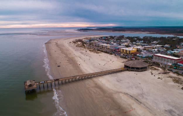 Tybee Island Aerial Shots of the Bay and Beach