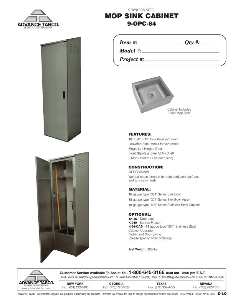 mop sink cabinet 9 opc 84 model
