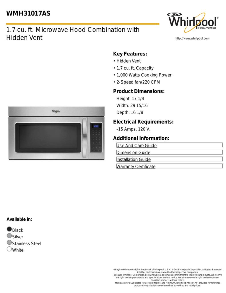 wmh31017as 1 7 cu ft microwave hood