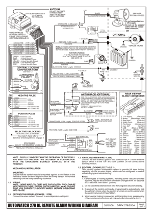 AUTOWATCH 279 RL REMOTE ALARM WIRING DIAGRAM | manualzz