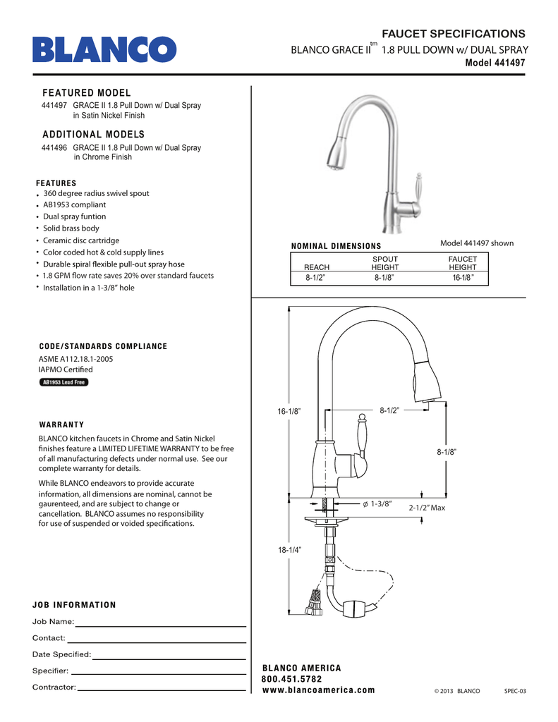 faucet specifications blanco grace ii 1