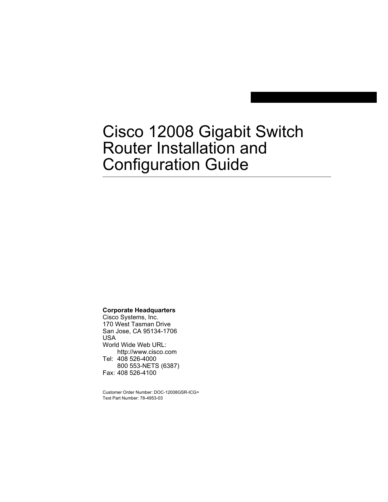 Cisco Gigabit Switch Router Installation And