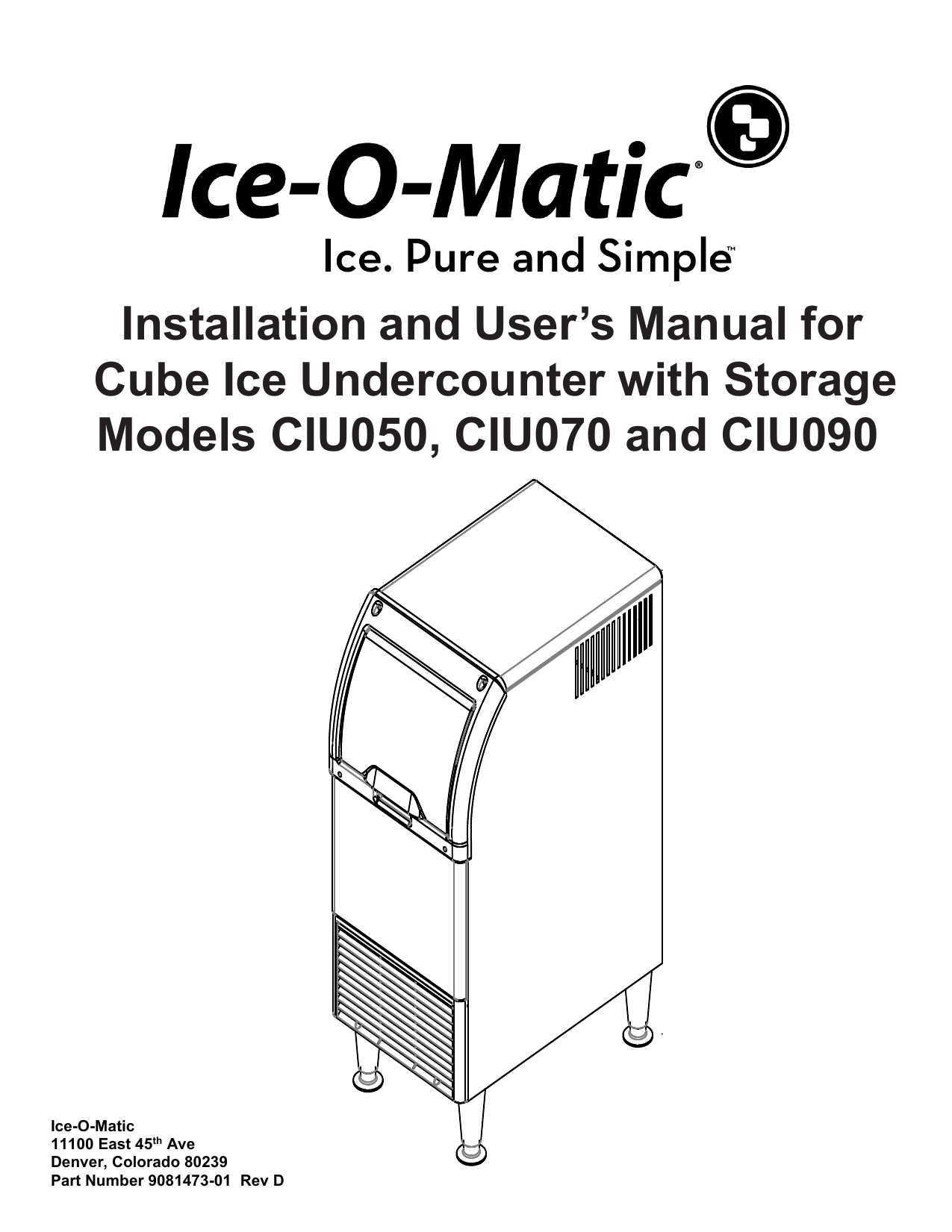 Installation And User S Manual For Cube Ice