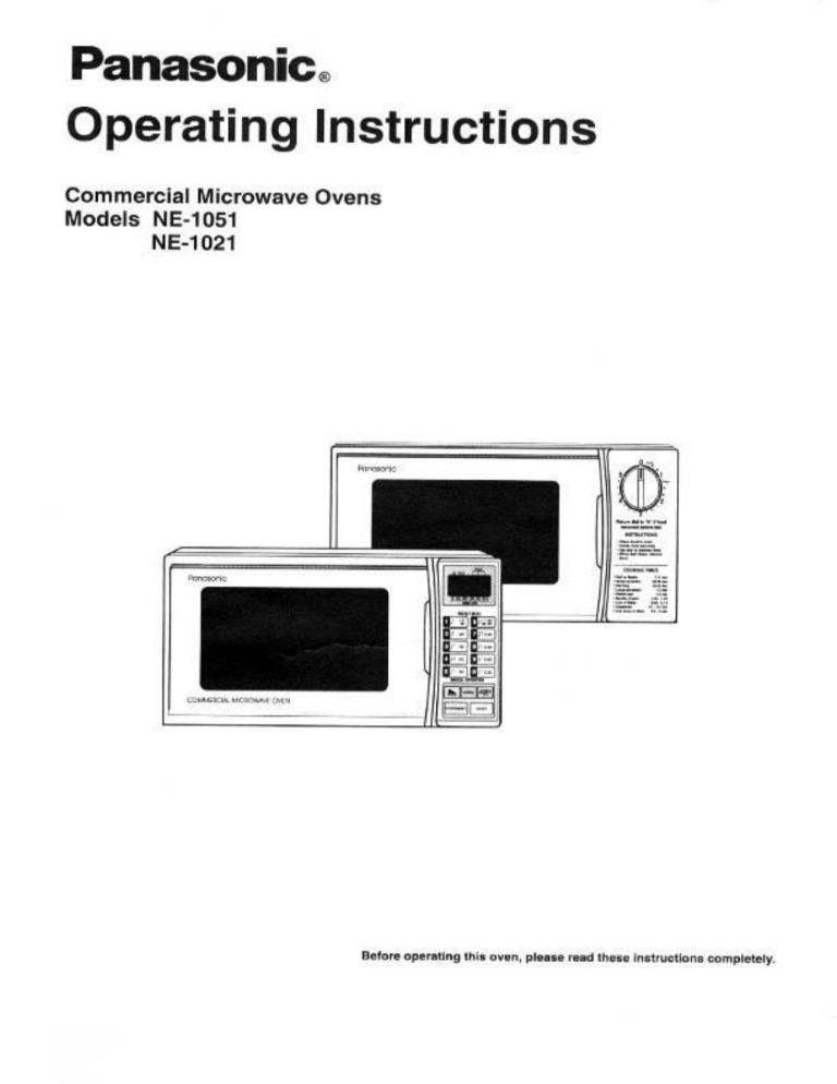 panasonic microwave oven ne 1021 user