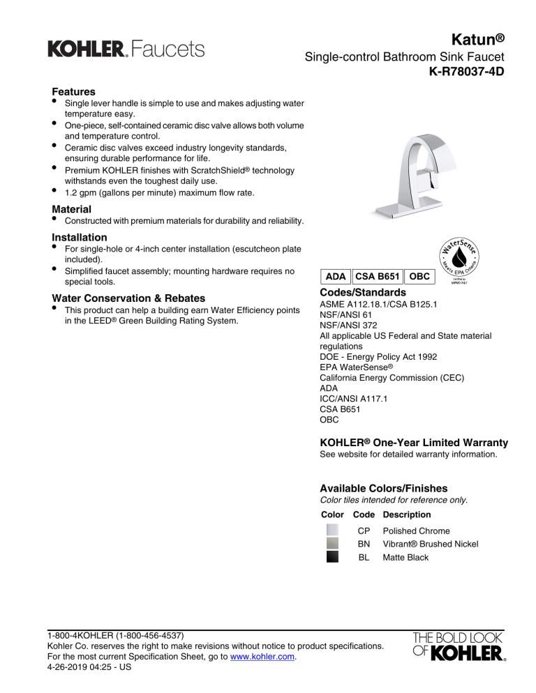 kohler k r78037 4d cp specification