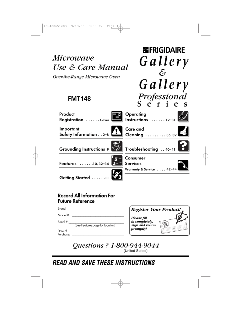 frigidaire model ffcm1155us manual