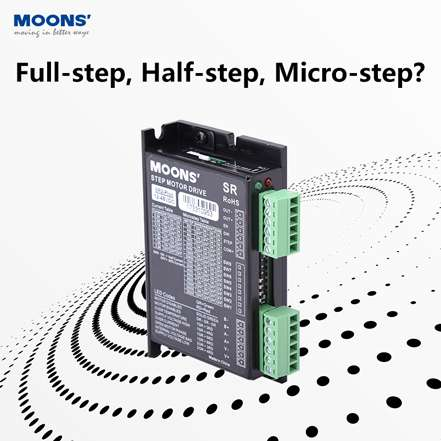What is the difference between the full-step, the half-step, and the micro-drive?