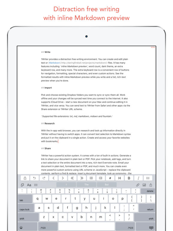 1Writer - Note taking, writing app Screenshot