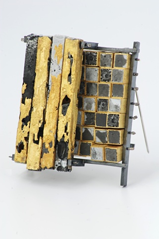 Michael Rybicki - PouredGrid:49x4 (2011). Brooch: Sterling, Brass, Enamel, Stainless
