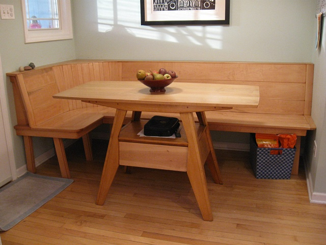 Bill Groot Maple Wood Kitchen Table Built Bench Seating