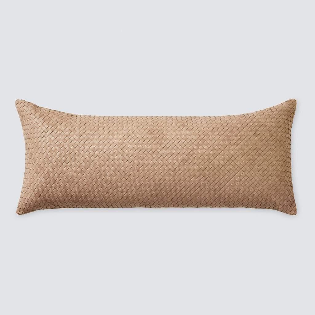 dhara leather lumbar pillow