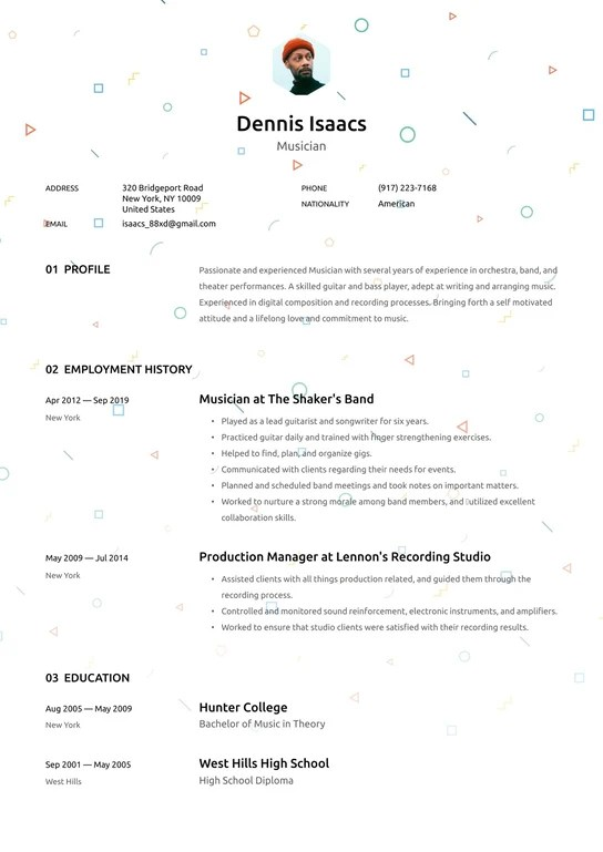 Musician Resume Examples Writing Tips 2021 Free Guide Resume Io