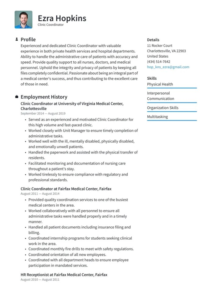 Clinic Coordinator Resume Examples Writing Tips 2021 Free Guide