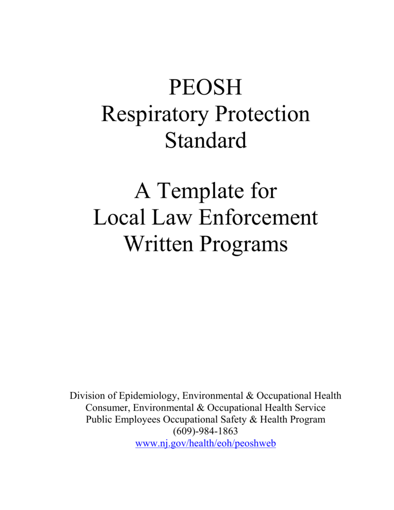 Public Health Department Respiratory Protection Template
