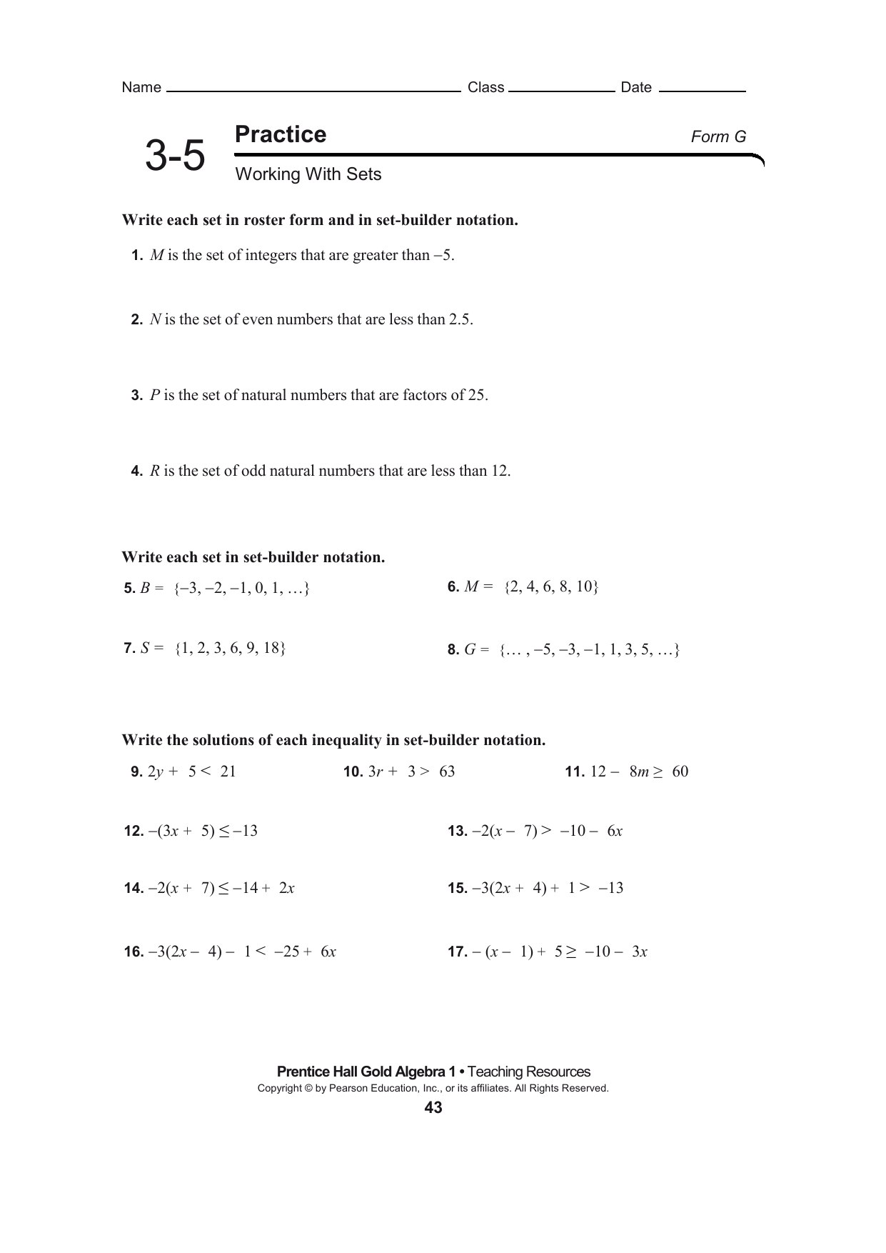 Practice 3 6 Absolute Value Equations And Inequalities