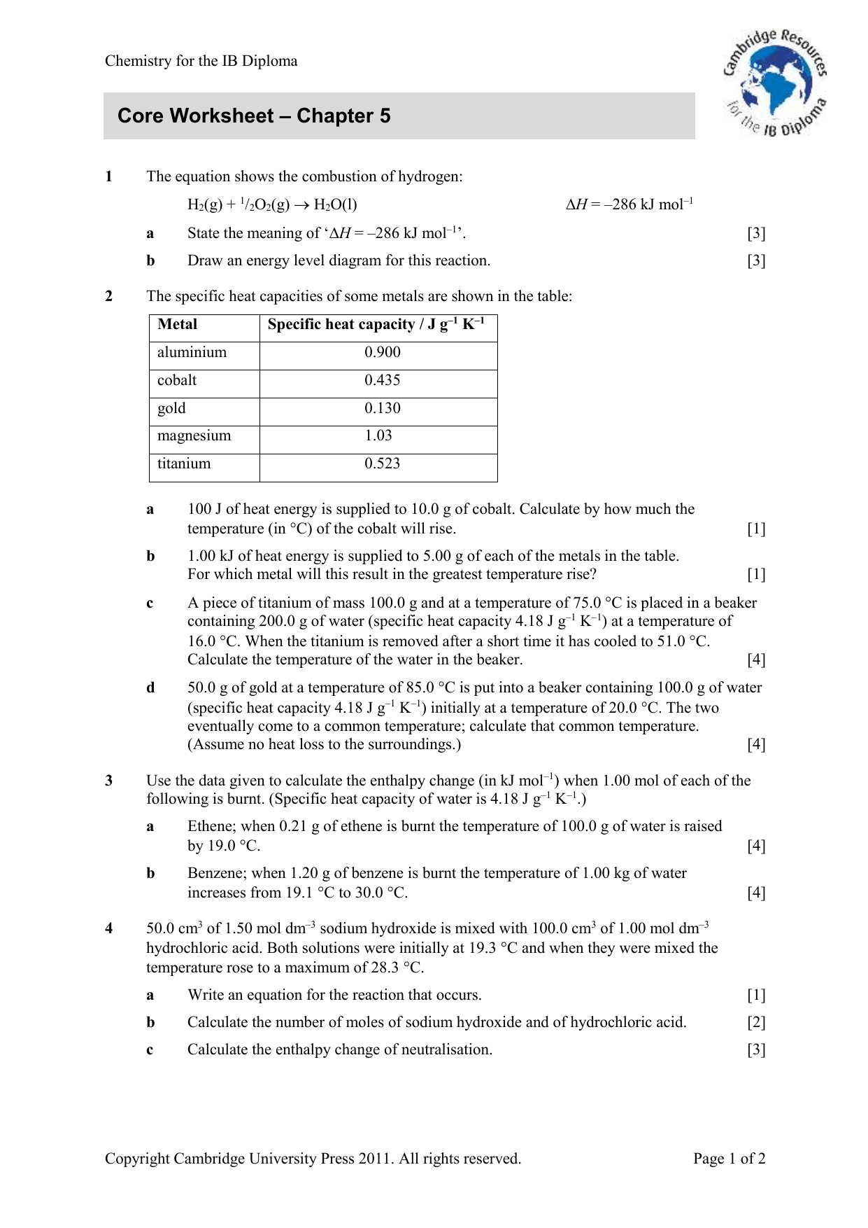 Core Worksheet Chapter 5