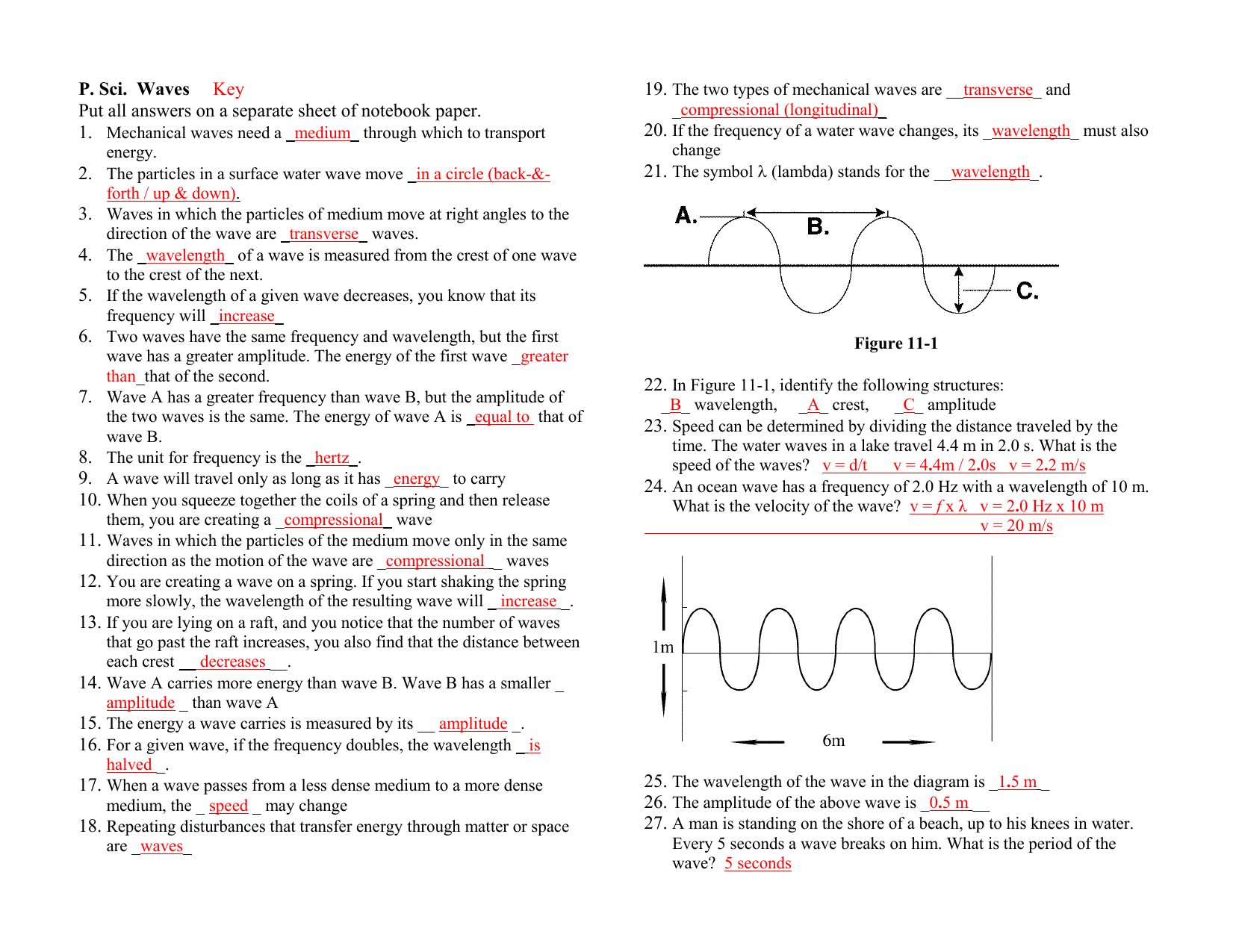 Wave Worksheet Answer Key
