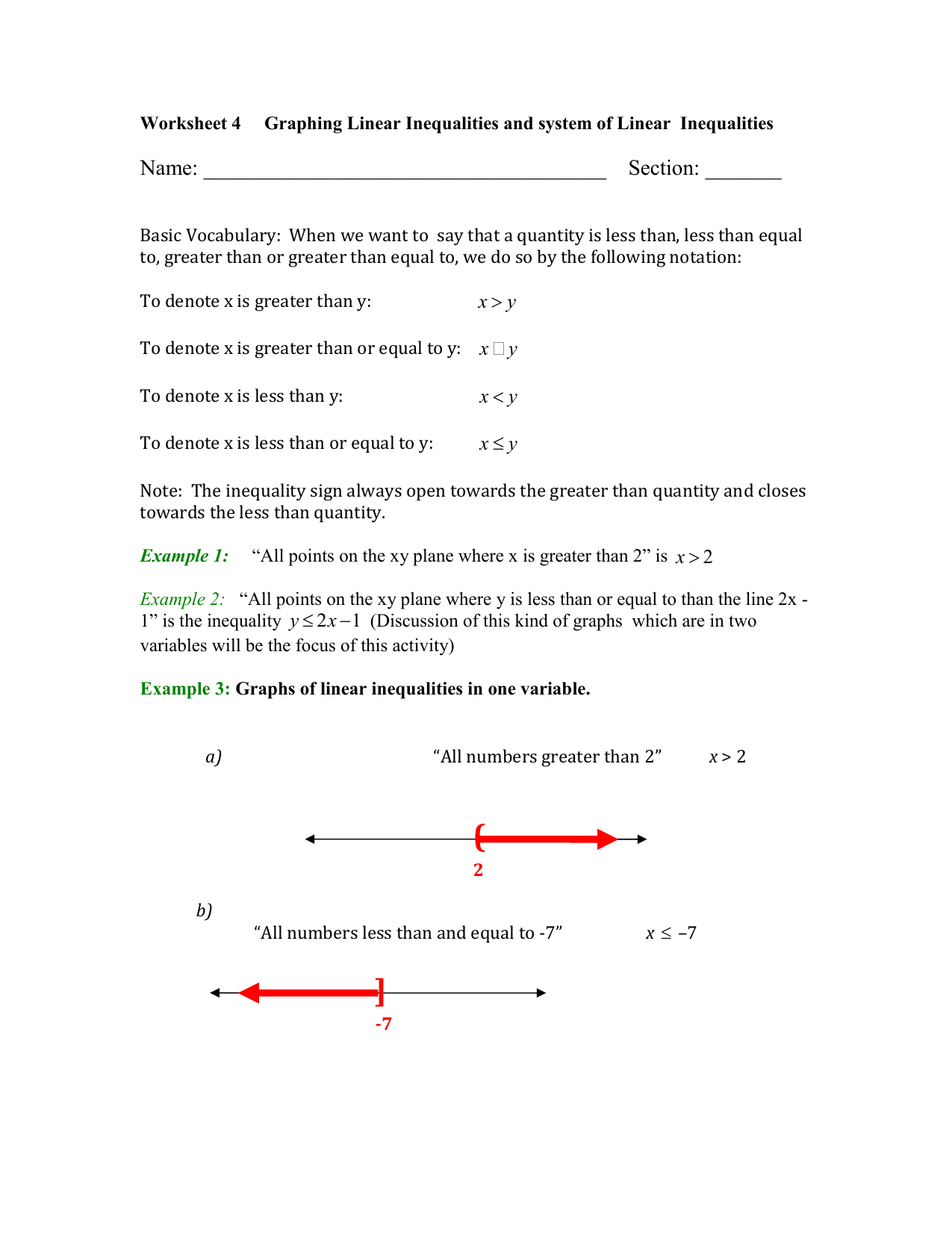 Systems Of Linear Inequalities Worksheet